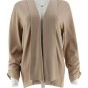 Sweaters - Open Front Cardigan with Ruched Sleeves